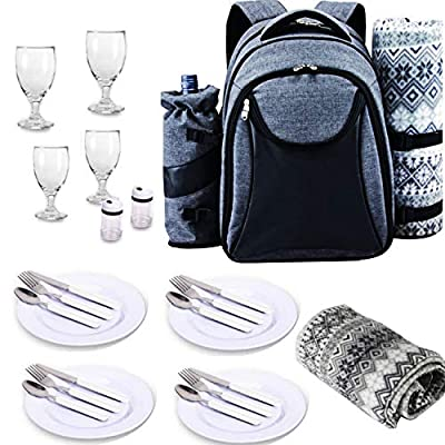 Scuddles Picnic Backpack Basket 4 Person Picnic Set Great Weddings Or Anniversary (