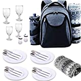Scuddles Picnic Backpack Basket 4 Person Picnic Set Great Weddings Or Anniversary (Grey)