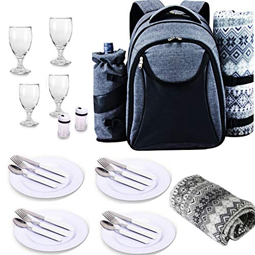 - Scuddles Picnic Backpack Basket 4 Person Picnic Set Great Weddings Or Anniversary ((Model 1 Picnic Backpack)