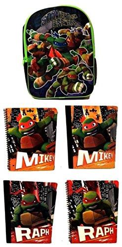 Teenage Mutant Ninja Turtle Boys Nickelodeon Leonardo Raphael Donatello Elementary Junior High Backpack Middle 2 Notebook 2 Spiral Backpack 5 (Homemade Ninja Turtle Costume Women)