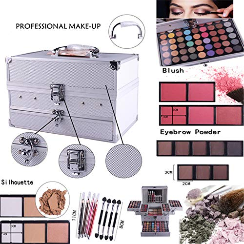 PhantomSky Professional 132 Colors All in one Makeup Palette Cosmetic Contouring Kit Combination with Eyeshadow, Cream Concealer, Eyebrow Powder, Lip Gloss Blusher and Pressed Powder