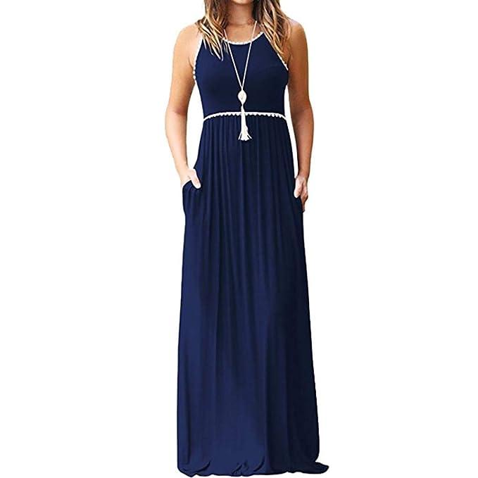 ABsolute Vestido Vestido Largo de Bolsillo para Mujer, Largos sin Mangas Cuello Redondo Casual