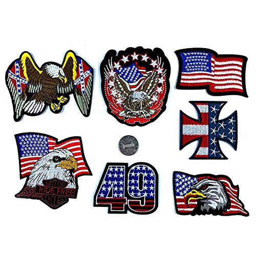 - Beautymei USA American Flag Bald Eagle Iron on Patches Embroidered Patch, Morale Military Applique Sew on Patches for Clothes Backpacks Hats Jackets