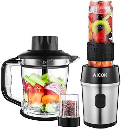 AICOK Batidora de Vaso, 5 en 1 Multifunción para Batidora para Smoothie, Molinillo de Café, Procesador de Alimentos, Picadora de Hielo, Cuchillas Recubiertas de Titanio, Botellas Tritan sin BPA: Amazon.es: Hogar