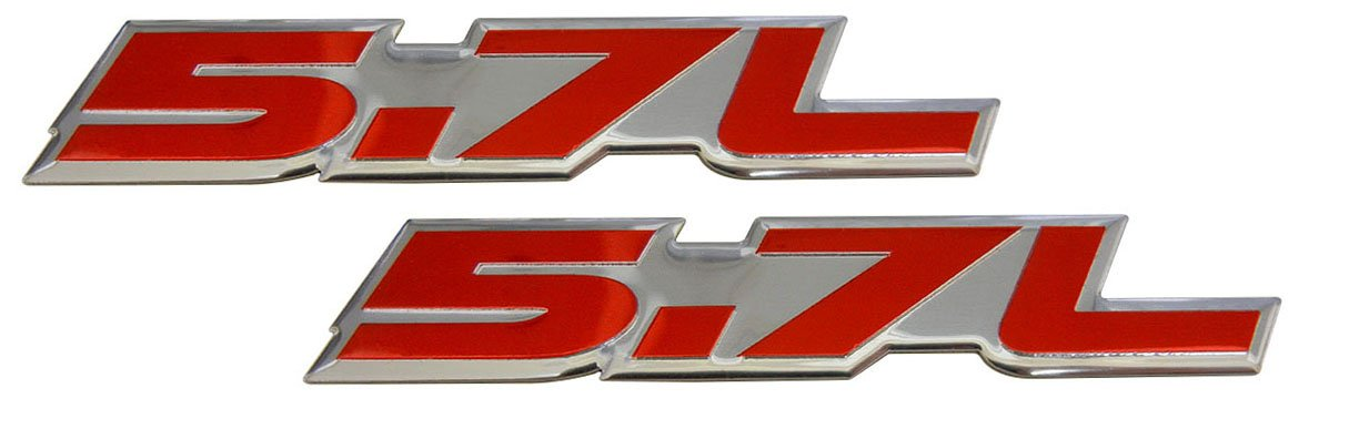 for Toyota Tundra Sequoia V8 Chevy 350 Tahoe Suburban 1500 Camaro Impala Caprice SS Corvette Z06 LS1 LS6 Dodge Challenger Charger Ma pair//set of 2 2 X 5.7L Liter in RED on SILVER Highly Polished Aluminum Car Truck Engine Swap Nameplate Badge Logo Emblems