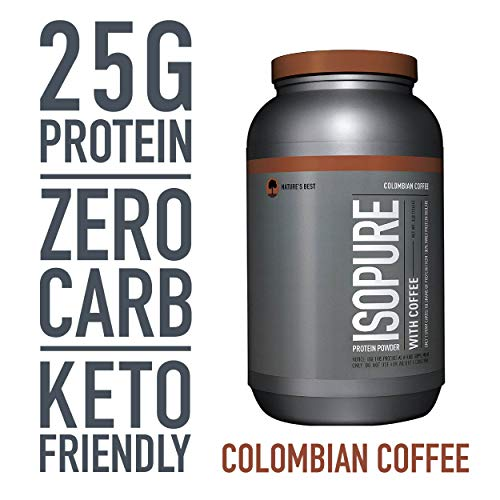 Isopure Zero Carb, Keto Friendly Protein Powder, 100% Whey Protein Isolate, Flavor: Colombian Coffee, 3 Pounds