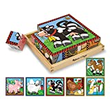 Melissa & Doug Farm Wooden Cube Puzzle With Storage Tray - 6 Puzzles