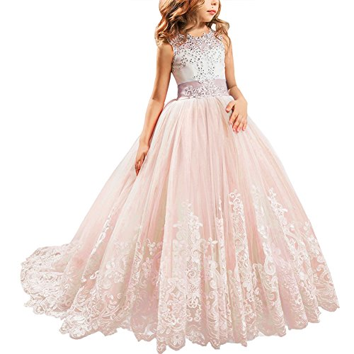 IBTOM CASTLE Little Big Girls' Flower Lace Princess Long Pageant Dresses Prom Tulle Ball Gown Wedding Bridesmaid Floor Length Dance Evening #A Coral Pink 12-13 Years