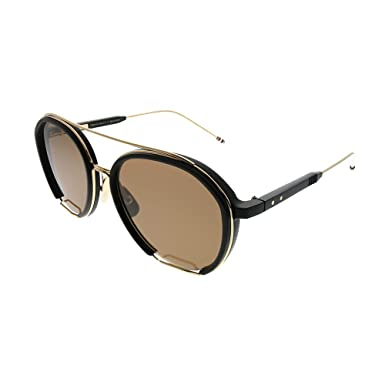 ce5f31ab9737 Thom Browne TBS810 56-01 Black White Gold Plastic Aviator Sunglasses Dark  Brown AR Lens