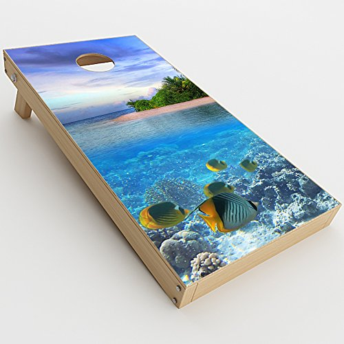 Skin Decal Vinyl Wrap for Cornhole Game Board Bag Toss (2xpcs.) Skins Stickers Cover / Underwater Snorkel Tropical Fish Island]()