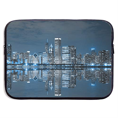 13Inch 15Inch Slim Neoprene Laptop Sleeve Case Cover Briefcase Messenger Bag Bussiness Carrying Handbag (USA Chicago Skyline Night View)