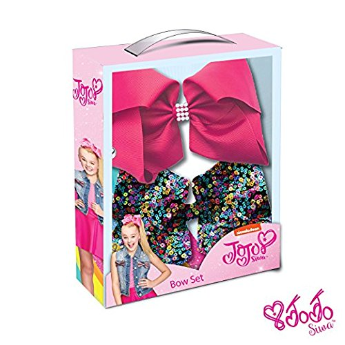 JoJo Siwa Signature Collection Hair Bow Two Piece Box Set - Multicolor Sequin and Pink with Rhinestone Keeper (Priorities Rhinestone Pink)