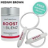 BOOSTnBLEND Medium Brown Hair Loss Concealer with BONUS FREE ADJUSTABLE MIRROR