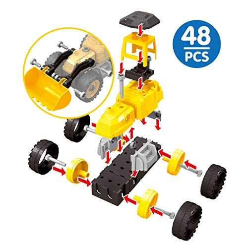ZZYD Take Apart Construction Truck Toys for Kids DIY Assemble Engineering Toy Vehicles Snow Clearer Car Excavator Model with Screwdriver Best Gift for 3-7 Year Olds Toddler Children(48PCS, Yellow)