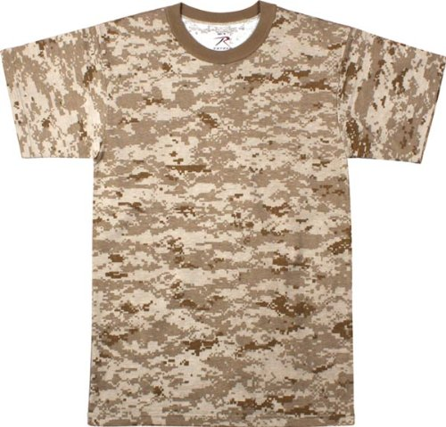 Polyester Digital Camo (Desert Digital Camouflage T-Shirt (Polyester/Cotton) Size Large)