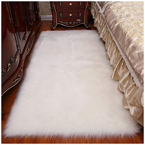 Junovo Ultra Soft Thick Fluffy Faux Sheepskin Area Rug for Living Room Bedroom Dormitory Home Decor,3ftx 5ft (White 1)