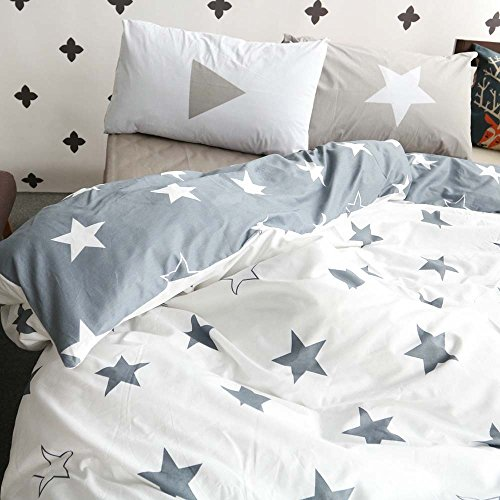 BuLuTu Kids Bedroom Five-pointed Stars Reversible Cotton Kids Duvet Cover Sets Twin Grey/White Bedding Cover With 2 Pillowcases ,Gifts for Men,Women,Children,Boys,Girls,Friend,Family,NO COMFORTER