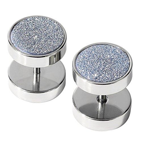 (2PCS Grey Glitter Fake Gauge Earring Studs 10mm 16G Men Women Cheater Faux Ear Plugs Illusion Tunnel Stainless Steel Piercing Screw )