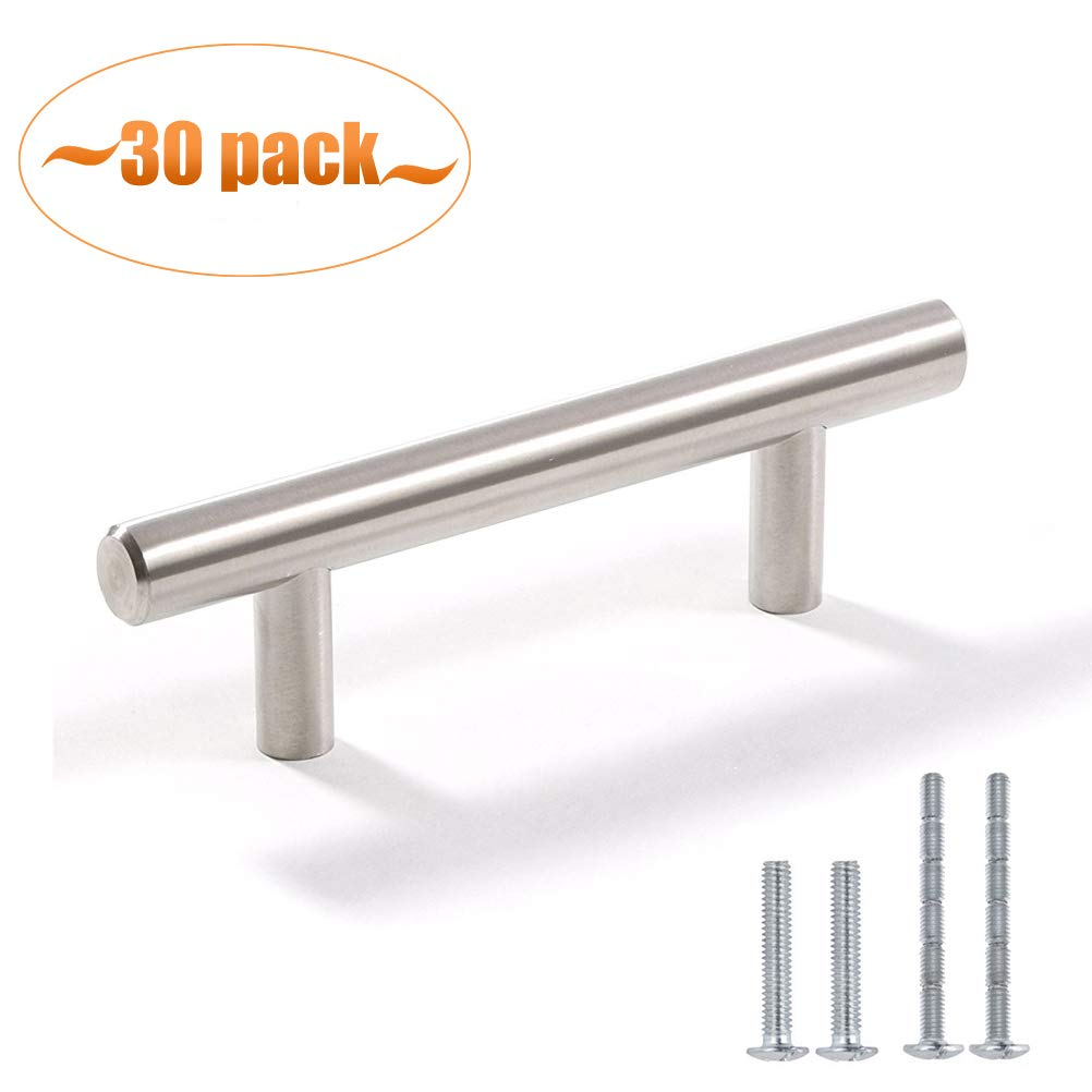 Aybloom Cabinet Handles - Pack of 30 Stainless Steel Brushed Nickel Finish Hollow Tube T Bar Drawer Pulls for Kitchen Furniture Hardware (Overall Length: 5'', Hole Center: 3'')