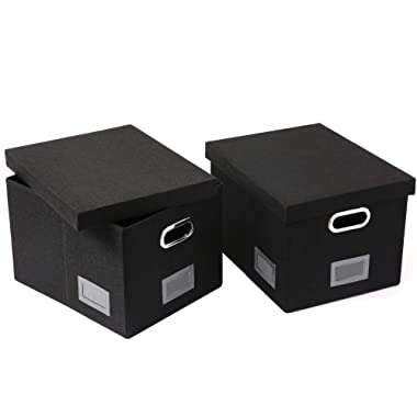 SUPERJARE Foldable File Storage Box, Document Organizer with Durable MDF Board & Linen Fabric, Office Box with Removable Lids for Letter/Legal, Pack of 2, Black