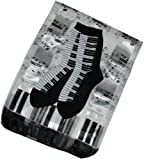 Ladies White & Black Music Gift Set: Piano Keyboard Oblong Scarf & Socks
