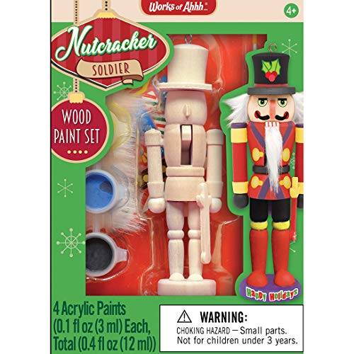 MasterPieces Works of Ahhh Christmas Ornament Acrylic Paint Kit, Nutcracker Soilder, For Ages 4+