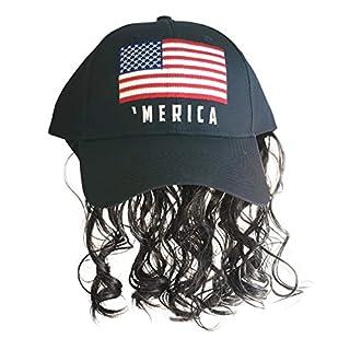 Artisan Owl Black 'Merica Flag Mullet Wig Baseball Cap