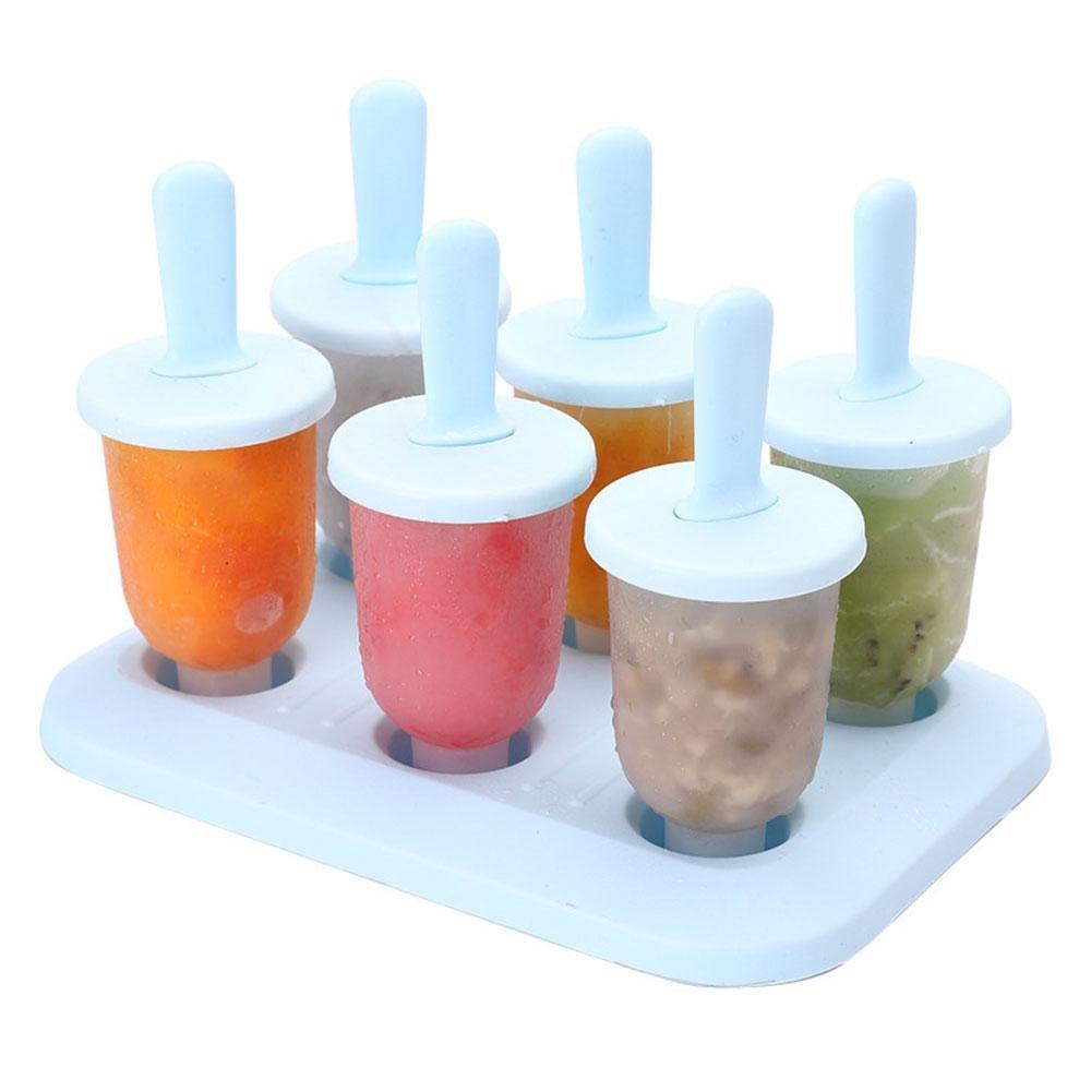 Popsicle Molds, Leegoal BPA-Free Plastic DIY Ice Cream Molds, Set of 6 Reusable Mini Ice Pop Makers for Frozen Yogurt Snacks Desserts (Small, Blue)