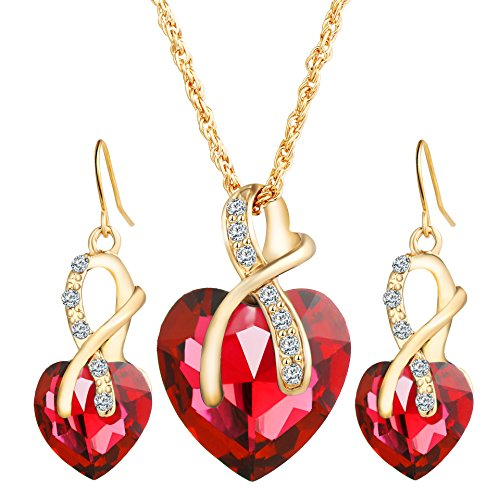 MIXIA Romantic Austrian Crystal Gold Color Jewelry Sets for Women Heart Necklace Earrings Set Rhinestone Hollow Bridal Wedding Accessories (Red)