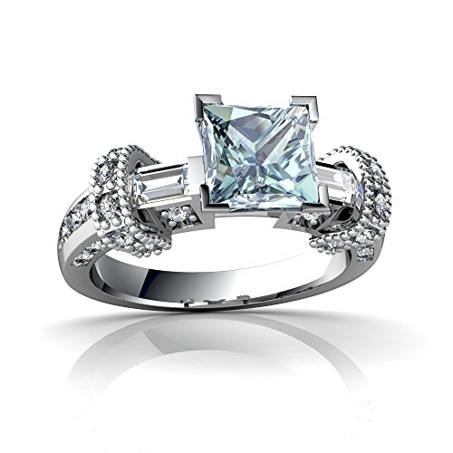 14kt White Gold Aquamarine and Diamond 6mm Square Antique Style Ring - Size 9 ()