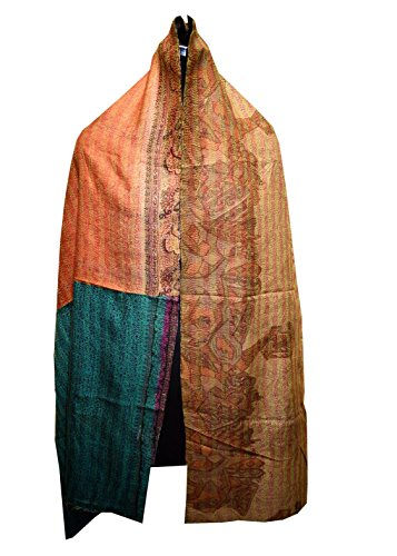 Quilted Multi Circle - Vintage Silk Quilted Kantha Fine Circle Work Stoles Reversible Hijab Scarf 89
