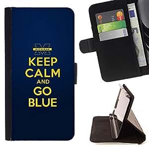 For Samsung Galaxy S6 EDGE (NOT S6) Plus / S6 Edge+ G928 Case , Oro amarillo Mantenga motivación de la cita en calma- la tarjeta de Crédito Slots PU Funda de cuero Monedero caso cubierta de piel