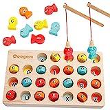Coogam Wooden Magnetic Fishing Game, Fine Motor
