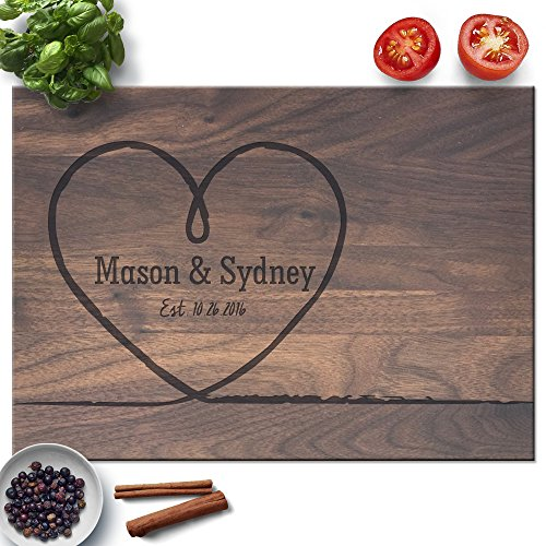 Froolu Big Heart personalized cutting board for wedding for Newly Wed Couples Monogrammed - Board Cutting Engraved