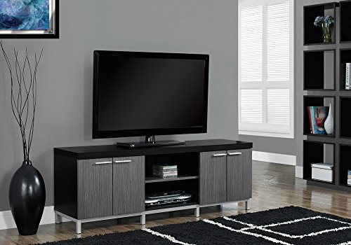 Monarch Specialties Black/Grey Hollow-Core TV Console, 60-In