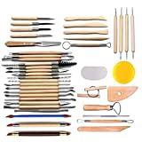Arts Crafts 42Pcs Clay Sculpting Tools Pottery Carving Tool Set Pottery & Ceramics Wooden Handle Modeling Clay...
