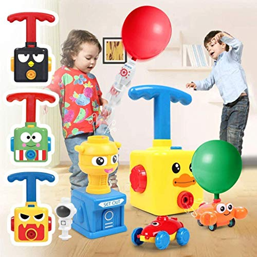 Balloon Launcher Car Toy Set, Power Balloon Car Toy for Kids, with Inflatable STEM Balloon Pump, Preschool Educational Science Toys Gift for Kids Boys Girls Includes 20 Balloons (D-Green frog)