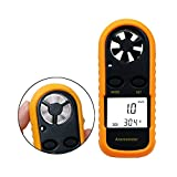 Jiusion Wind Speed Digital Anemometer LCD Handheld Wireless Hand Held Meter Gauge Air Flow Velocity Measurement Thermometer Tester for Windsurfing Kite Flying Sailing Surfing Fishing