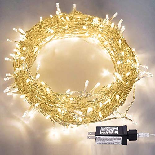 JIAMAOWW LED String Lights, 100LED 30V Plug in Fairy String Lights with 8 Modes for Indoor and Outdoor Party Wedding Home Decor (Warm White) (Warm Led White Lights String)