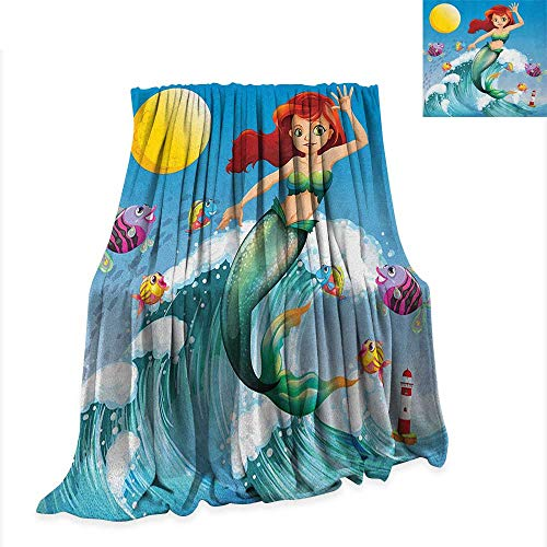 Mermaid Super Soft Lightweight Blanket Illustration of Cute Little Mermaid on top of a Big Wave in The Surf with Fish Kids 90