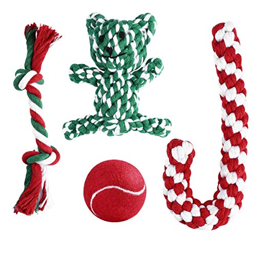 Christmas Stocking Gift for Puppy with Chewing Toys - Red Ball, Candy Cane, Bear Toy and Cotton Knotted Rope (Candy Bears Cane)