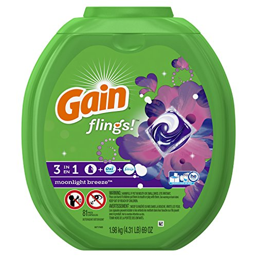 Procter Gamble Laundry Detergent - Gain Flings Moonlight Breeze Laundry Detergent Packs, 81 Count