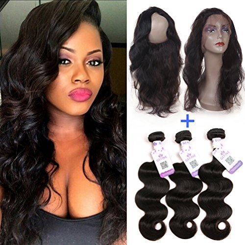 GEFINE-9A-Pre-Plucked-360-Lace-Frontal-with-Bundles-Brazilian-Virgin-Hair-Body-Wave-Remy-Human-Hair-3-Bundles-with-Frontal-Closure-360-Lace-Band-with-Baby-Hair-Natural-Color
