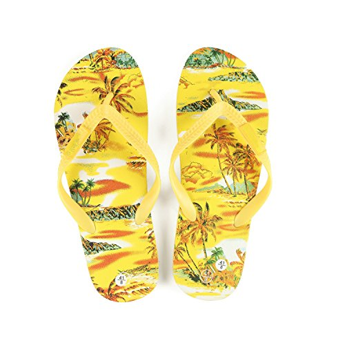 Hawaiian Print Sunset Beach Palm Hibiscus Wave Women Flip Flops Sandals in Yellow Sunset Size 8 from Hawaii Hangover