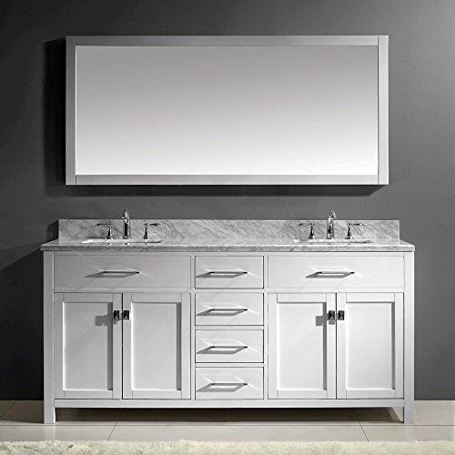 Marble Top Double Bathroom Vanity (Virtu USA MD-2072-WMSQ-WH-002 Caroline 72