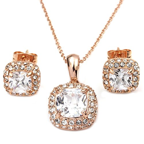 FC Rose Gold GP Princess Crystal CZ Square Bridal Necklace Earrings Studs Jewelry - Rose Gp