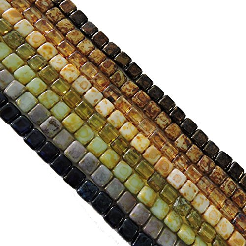 Glass Square Loose Beads - Picasso Mix 2 Square 6mm Czech Czechmate Glass Two Hole Tile Bead Approx 200