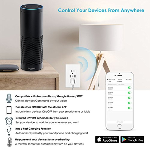 Smart WiFi Wall Outlet,Top & Bottom Outlets are Independently Controllable, Duplex Receptacle Socket , Works with Alexa Dot Echo Plus Google Assistant IFTTT, No Hub Required by Kapok (Image #4)