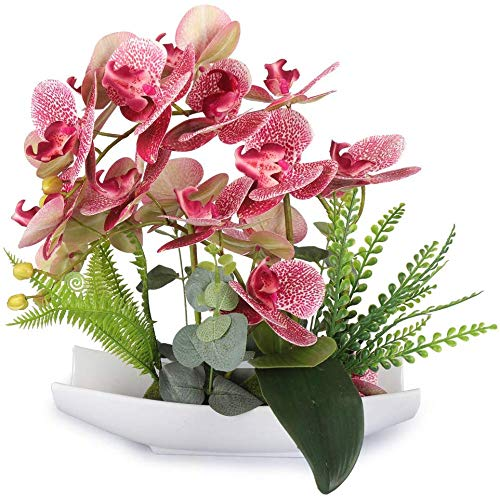 YOBANSA Orchid Bonsai Artificial Flowers with Imitation Porcelain Flower Pots Phalaenopsis Fake Flowers Arrangements for Home Decoration (Deep Pink) (Orchids Imitation)