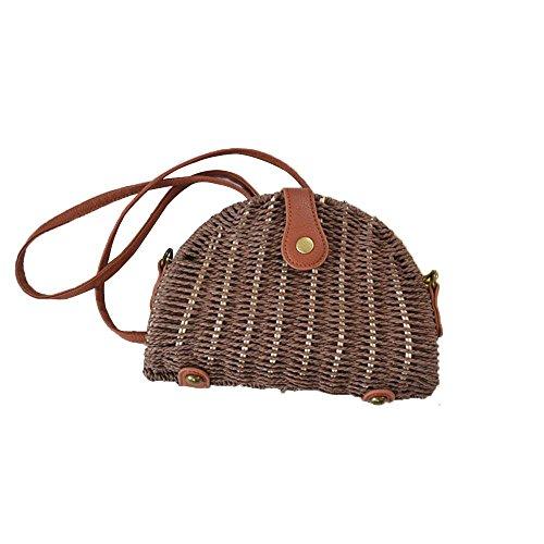 WANGXN Womens bolsos de paja Hombro Bunched hierba mano de la playa de punto , army green dark brown